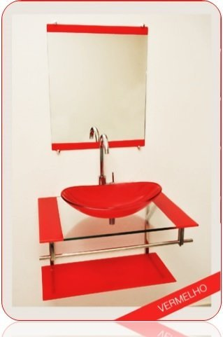 Gabinete Alaska Cuba Oval Canoa 31x48 – 2 faixas - Vermelho
