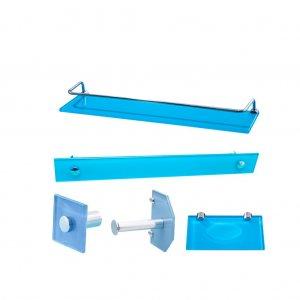 Kit Banho Vildrex Luxo Reto 05 peças – Azul